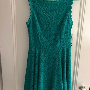 Studio City turquoise sleeveless lace dress size 7